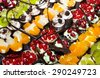 delicious miniature cakes catering sweets in buffet - stock photo