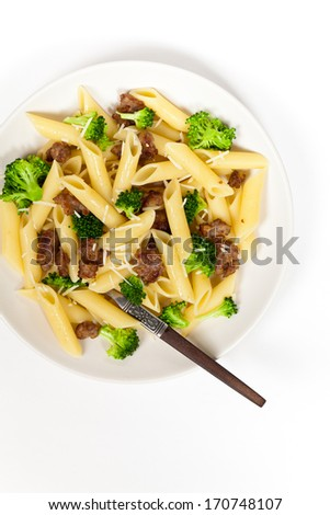 Delicious pasta with sausage and broccoli