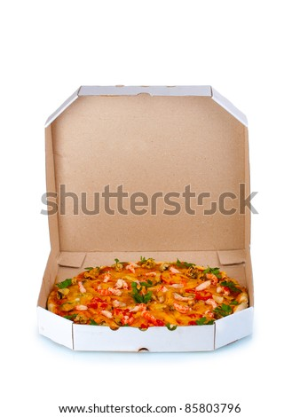 Delicious pizza with seafood in packaging isolated on white