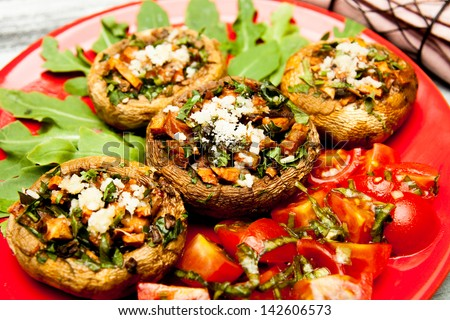 delicious plate of stuffed mushrooms