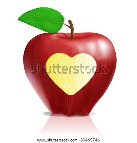 delicious realistic red apple with heart shape JPEG