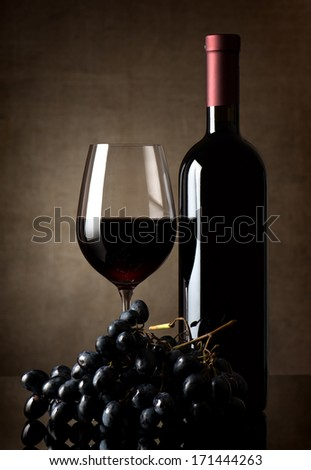 Delicious red wine on a background of canvas