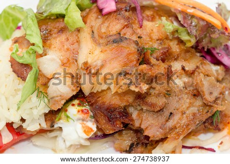 Delicious turkish chicken doner kebab grilled meat