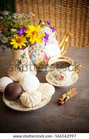 Table Set Afternoon Tea Summer Garden Stock Photo 32461183