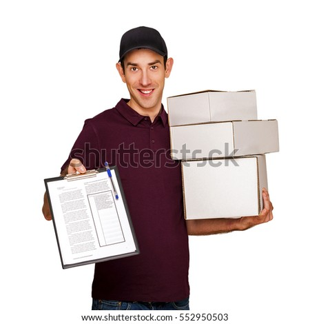 Delivery man with boxes isolated over white background.