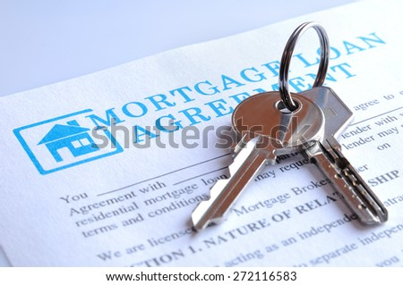 Delivery of the mortgage contract for a new house and keys