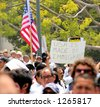 Demonstrators at Los Angeles illegal emigrant rally. May 1st 2006 - stock photo