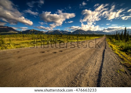Denali Highway in Alaska on a bright summer day
