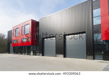 exterior office. denekamp netherlands february 13 2016 modern exterior of a newly build industrial office