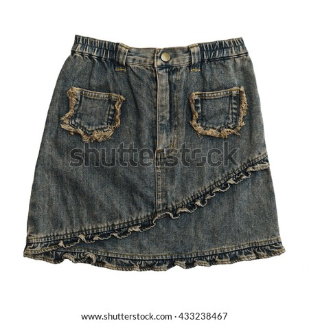 Denim skirt on white background with working path