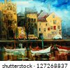 Denmark, Copenhagen, Illustration, painting by oil on canvas - stock vector