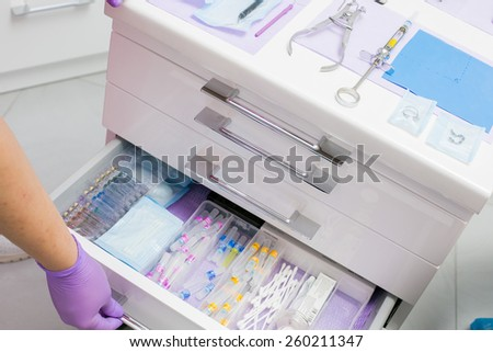 dentist's tools drawer