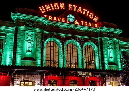 DENVER COLORADO / U.S.A. - December 7, 2014: Holiday light display at Denver's historic Union Station Train Depot on December 7, 2014 in Denver, Colorado