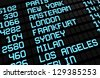 Departures board at airport terminal showing international destinations flights to some of the world's most popular cities. Business or leisure travel concept, image rendering. - stock photo