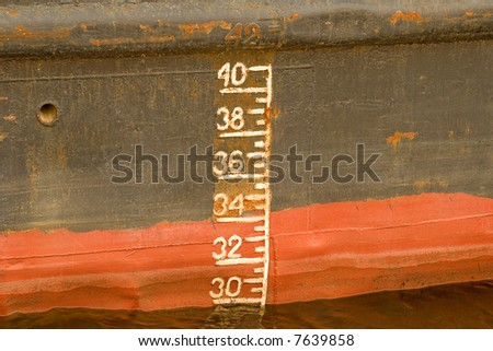 Depth markers. The numbers is used to determine whether a ship is overloaded with cargo.