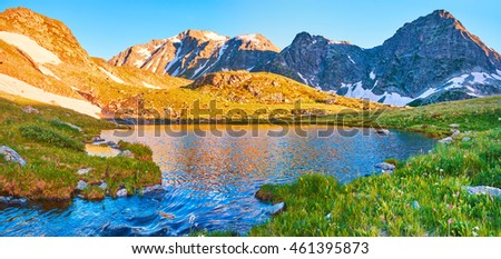 design element. mountain lake photo