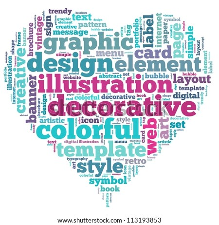 design info-text graphics and arrangement concept on white background (word cloud)