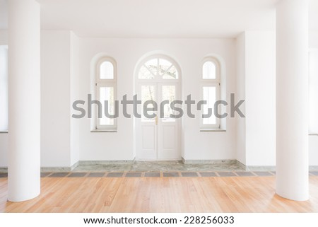 Design of classic entrance hall with big white door