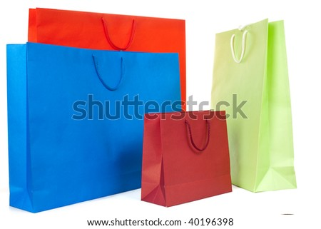 Design of colorful paper bags on white background