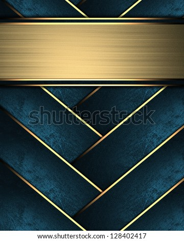 Design template - Blue braided texture with golden edges with gold nameplate