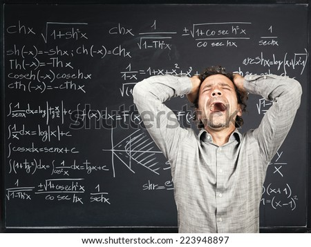 desperate teacher and blackboard background