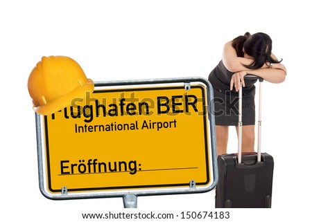 desperate woman and shield and the german words Berlin Brandenburg Airport / BBI airport