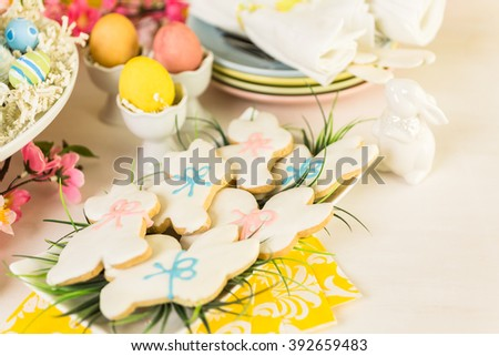 Dessert table decorated for Easter brunch.