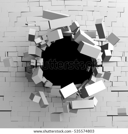 Destruction hole of a white broken brick wall. 3d render illustration