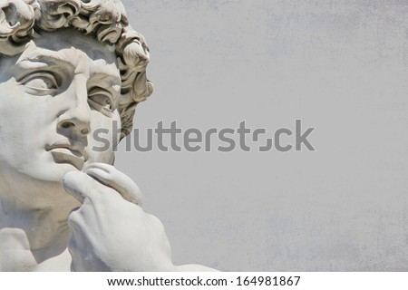 Detail close-up of Michelangelo's David statue, with place for your design or text