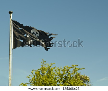 Detail of a flag showing a skull as a symbol for pirates.
