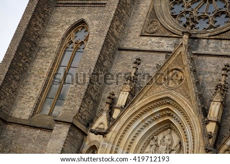 Detail of a Neo-Gothic cathedral in the city of Prague (Czech Republic, Europe) - Church of St. Ludmila placed on Namesti Miru (Peace Square in the Vinohrady district)