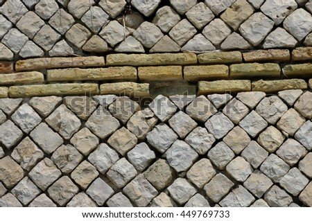 Detail of a roman wall in the city of Formia (Italy), Roman harbor of Caposele, Opus reticulatum mixtum