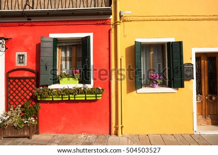 Detail of a traditional house in Burano island, Venice