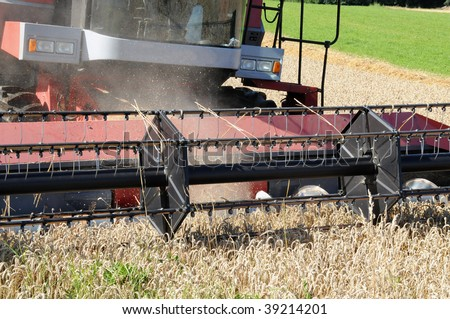 detail of a working harvester