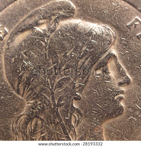 Detail of illustration of French Republic as a beautiful girl on an ancient coin