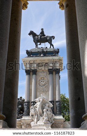Detail of Monument to King Alfonso XII, located in Retiro Park, Madrid, Spain . The monument was designed by Jose Grases Riera, and inaugurated on June 6, 1922