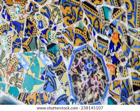 Detail of mosaic in Parc Guell in Barcelona