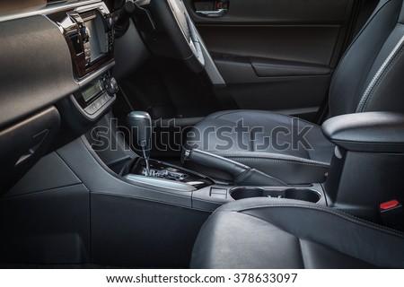 leather upholstery inside car interior stock photo 407875162 shutterstock. Black Bedroom Furniture Sets. Home Design Ideas