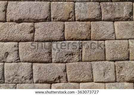 Detail of perfect Inca stonework of Temple of the Sun at Machu Picchu ruins, Peru