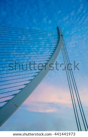 Detail of the cable stayed bridge in Valencia, Spain