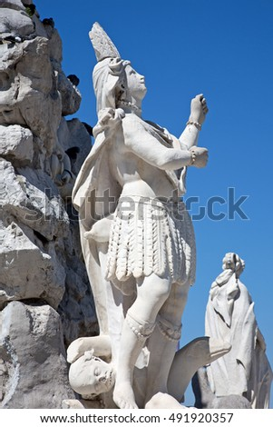 Detail of the fountain of the four continents, Trieste, Italy