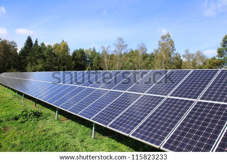 Detail of the Solar Power Station in the autumn Nature