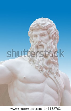 Detail of the statue close up of Poseidon at the Venetian, Thailand