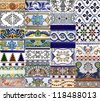 Detail of the traditinal ties (azulejos) from facdes of old houses in Valencia, Spain - stock photo