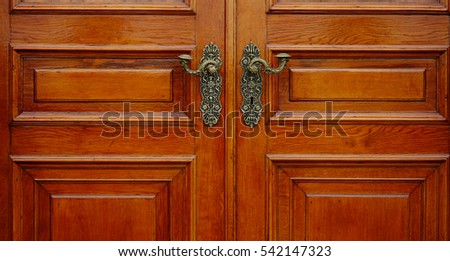 Detail of wooden door at Hermitage Palace in Saint Petersburg, Russia.