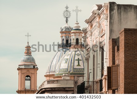 Detail take of Cordobas landmark religious architecture, Argentina