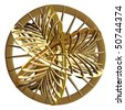 Detailed gold 3D disc sculpture on white background - stock photo