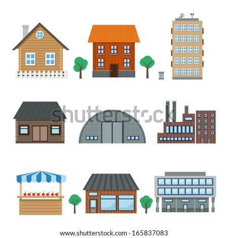 Detailed houses and building icons set isolated on white illustration