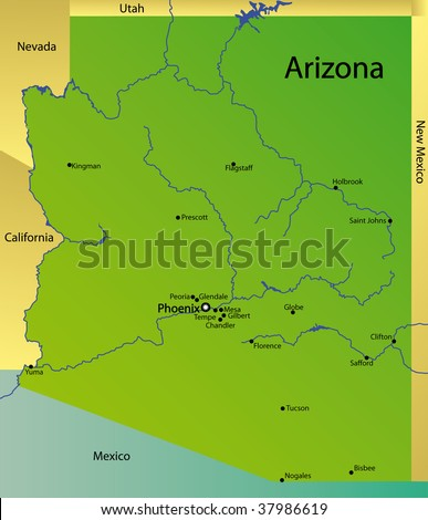 Detailed Map New Mexico State Usa Stock Illustration - Detailed map of arizona
