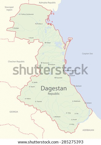 Detailed map of Dagestan Republic, Russia